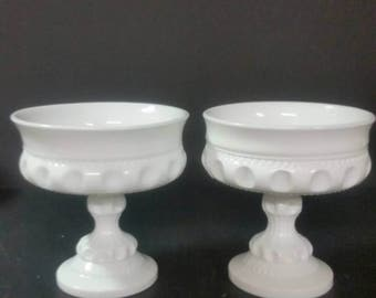 Milk glass pedestal candy dishes.  Set of 2. Pedestal with rounded base. Kings Crown.