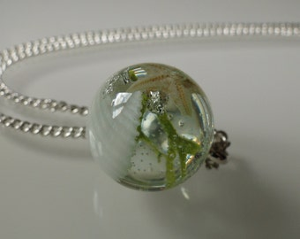 Small pendants in the form of ball with starfish, seashell, MOSS and leaf silver - a piece of sea