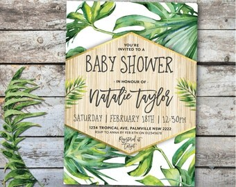 Tropical baby shower invitation, tropical invitation, tropical baby shower invite, palm print, palm trees, green, white, gold, pink (Natalie