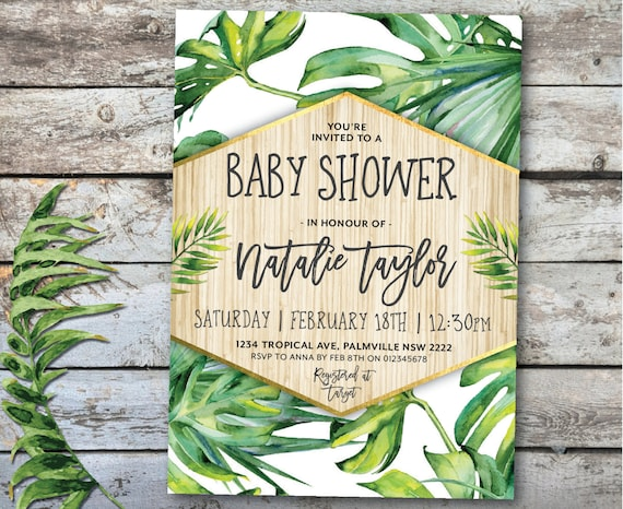 Tropical baby shower invitation tropical invitation tropical