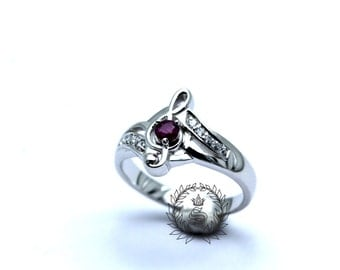 Musical notes ring,Women ring,silver ring,white ruby, 925 Sterling Silver White Gold Plated.