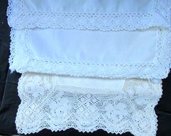 FREE SHIPPING USA Vintage White Cotton Dresser Scarves, Runners with Crocheted edging   578