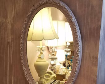 Vintage Oval Mirror in Lilac