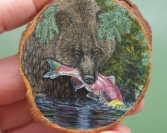 Miniature painting, bear, Kamschatka