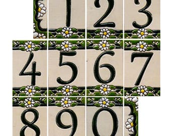 Handmade Ceramic House Numbers and letters DAISY - small size