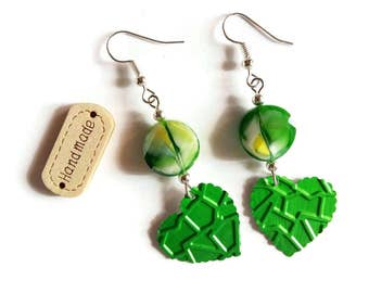 Earrings natural stone hearts veined - Nespresso coffee Capsules - green yellow