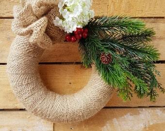 Burlap Wreath - Jute Wreath - Pine and Berry Wreath - Christmas Wreath