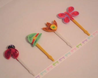 Spring Festive Toppers,Spring Quilled Toppers,Mothers Day Nature Toppers,Easter Cupcake Toppers,Woman's Club Toppers,Brunch Festive Toppers.