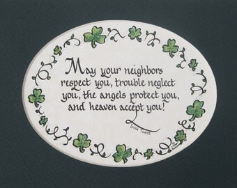 Matted Calligraphy Irish Blessing