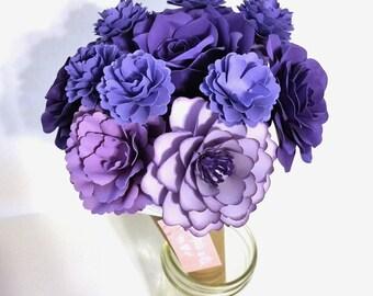 Paper Flower Bouquet   Purple Flowers