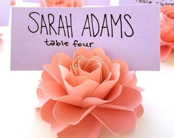 Place Card Holder | Pink Paper Flowers (Set of 20)