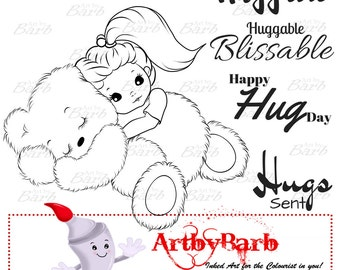 Huggable,  cute line art, digital stamp, clip art, art print, wordart, sentiments, to colour, to craft, greeting card, crafty make,cute digi