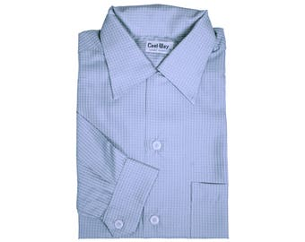 Vintage 1950s NOS Mens Shirt Unused Cool Way Blue Long Sleeve Medium