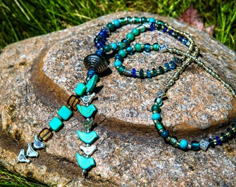Turquoise and Silver Birds Necklace