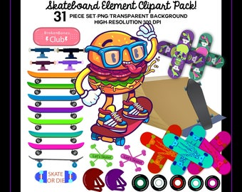 Skateboard Clipart, Clipart, Clip Art, Commercial Use Clipart, Digital Clipart, Digital Clip Art, Skateboard Deck, Skateboard Deck Art