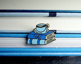 Tea and Books Enamel Pin | bookish pin, geek gifts, cute enamel pin, literature, bookworm for her, cool lapel pin, tea lover gift, pin game