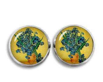 Van Gogh Irises Stud Earrings Vase with Irises Earrings Van Gogh painting Earrings Art Jewelry