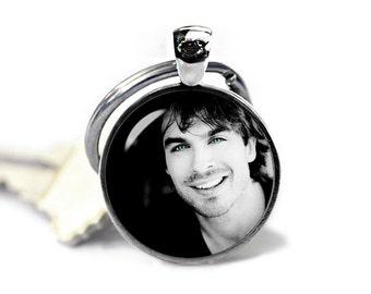 Damon Salvatore Keychain Ian Somerhalder Keyfob Vampire Diaries Keyring Vampire Keyfob Fandom Jewelry