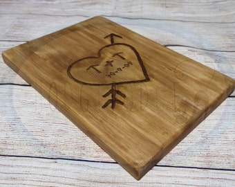 Tree Carving Inspired Personalised Valentine / Wedding Laser Engraved Spruce Wood
