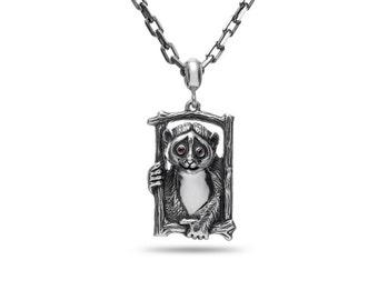 Lemur Jewelry, Lemur pendant, Lemur necklace / Solid sterling silver (silver 925)