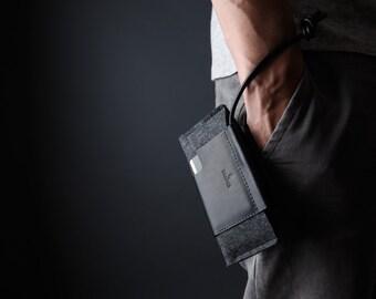 NEW Google Pixel / Google Pixel XL Wallet Case - Italian Leather and Merino Wool Felt, Grey / Black