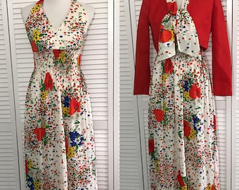 Vintage 1970's Saks Fifth Avenue Young Dimensions Floral Maxidress with Matching Bolero.