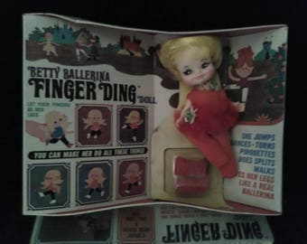 Vintage Finger Ding Doll Betty Ballerina With Box  (1969) Remco