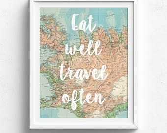 Eat Well Travel Often, Vintage World Map, Printable Map, Travel Quote, Map Decor, Vintage Map Decor, Map Print, Map Wall Art,Adventure Theme