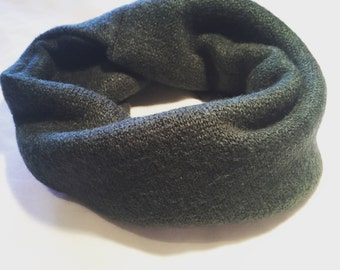 ON SALE Forest green chunky knit handmade snuggle snood