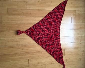 Crocheted Alpaca Triangle Shawl with Tassels