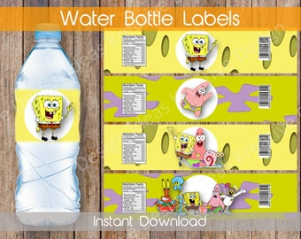 SpongeBob Water Bottle Labels, Water Bottle Labels or Stickers, SpongeBob Party Printables Theme Birthday Party - INSTANT DOWNLOAD