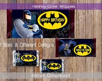 Batman Hershey Wrappers Batman Hershey Chocolate Wrapper Batman Chocolate Hershey Wrappers Batman Hershey Favors INSTANT DOWNLOAD
