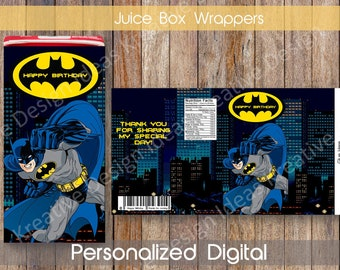 Batman Juice Box Wrappers Batman Juice Box Labels Batman Juice Covers Batman Party Printable Instant Download