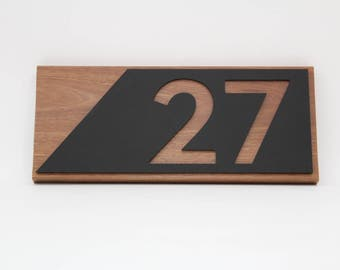 Custom house numbers / address made from Hardwood and Perspex