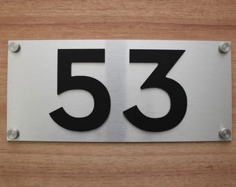 Custom house numbers / address made from Brushed Aluminium with Matte Black Perspex Numbers