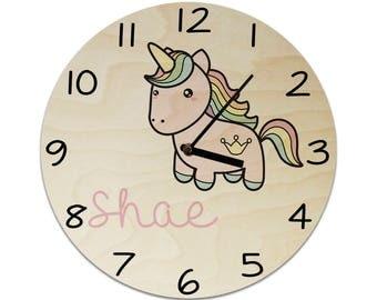 Unicorn Personalised Childrens Clock / Kids Clock