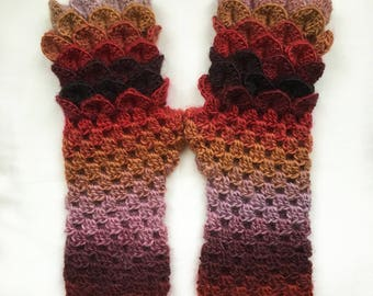 Dragon Scale Gloves   Arm Warmers Fire