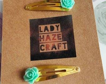 X2 flower hair clips gold/light blue vintage style slides