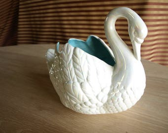 Vintage Swan Planter with Pearlescent White Glaze by Holland Mold