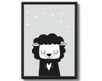 Sheep art print family gift family art print, fine art print