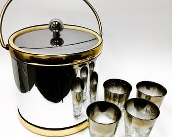 Kraftware Silver & Gold Ice Bucket / Vintage  BarWare