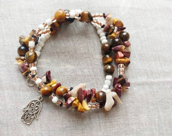 Mookaite Jasper and Tigers Eye wrap around bracelet/long necklace