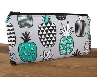 Pineapple Pencil Pouch -  Pineapple Pencil Case - Pineapple Bag - Pineapple Zipper Pouch  - Pineapple Makeup Bag - Waterproof Lining #39