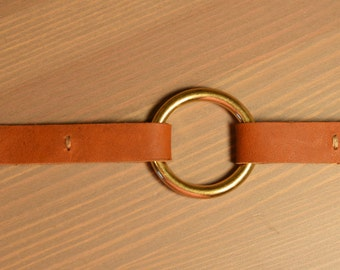 Brass Ring Leather Bracelet