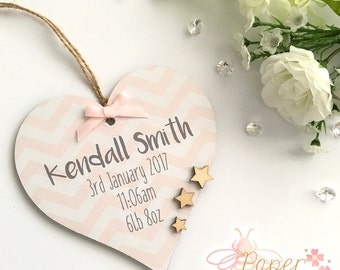 Birth Announcement Personalised Wooden Heart/Star Plaque - Any Name And Text - Baby Boy/Girl Nursery Decor Sign Gift Chevron