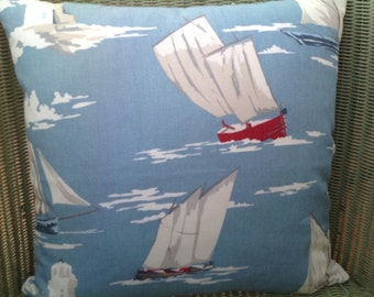 Sailing boat, Yacht and Lighthouse Cushion in Clarke and Clarke Skipper and Sail Stripe.