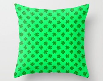 Shamrock Pillow, Shamrock Toss Pillow, Green Pillow, Spring Pillow, Throw Pillow Cover, Pillow Case, St Patrick's Day, Light Green, Cushion