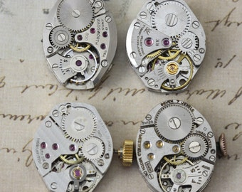 Vintage Watch Movements Lot of 4 Pieces Steampunk Supply US 5315
