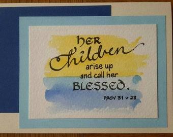 Hand written Bible text Mother's Day card