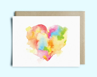 Heart Watercolor Greeting Card | Valentine's Day Card | Sympathy Card | Watercolor Card | Just Because Card | Love